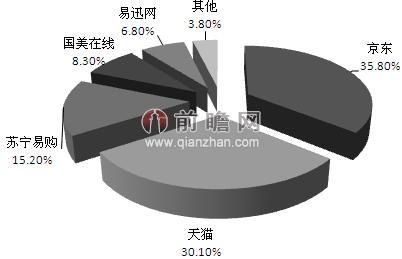 2013年电商平台洗衣机销售量市场结构; 国美苏宁推一日三达 京东市场